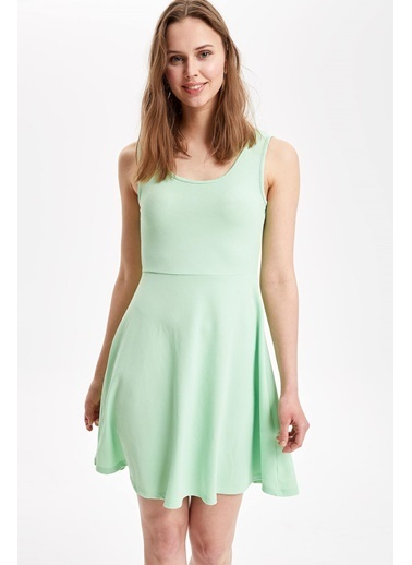 DeFacto Kolsuz Slim Fit Elbise Turkuaz
